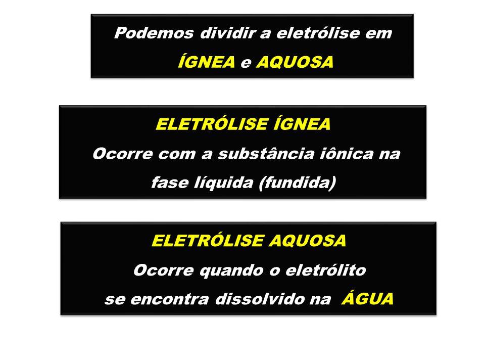 Podemos dividir a eletrólise em ÍGNEA e AQUOSA Podemos dividir a eletrólise em ÍGNEA e AQUOSA ELETRÓLISE ÍGNEA Ocorre com a substância iônica na fase