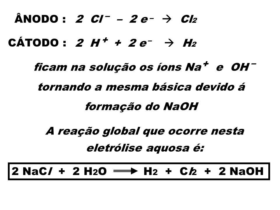 – – 2 Cl – 2 e Cl 2 ÂNODO : CÁTODO : 2 H + 2 e H 2 + – ficam na solução os íons Na e OH tornando a mesma básica devido á formação do NaOH – + A reação
