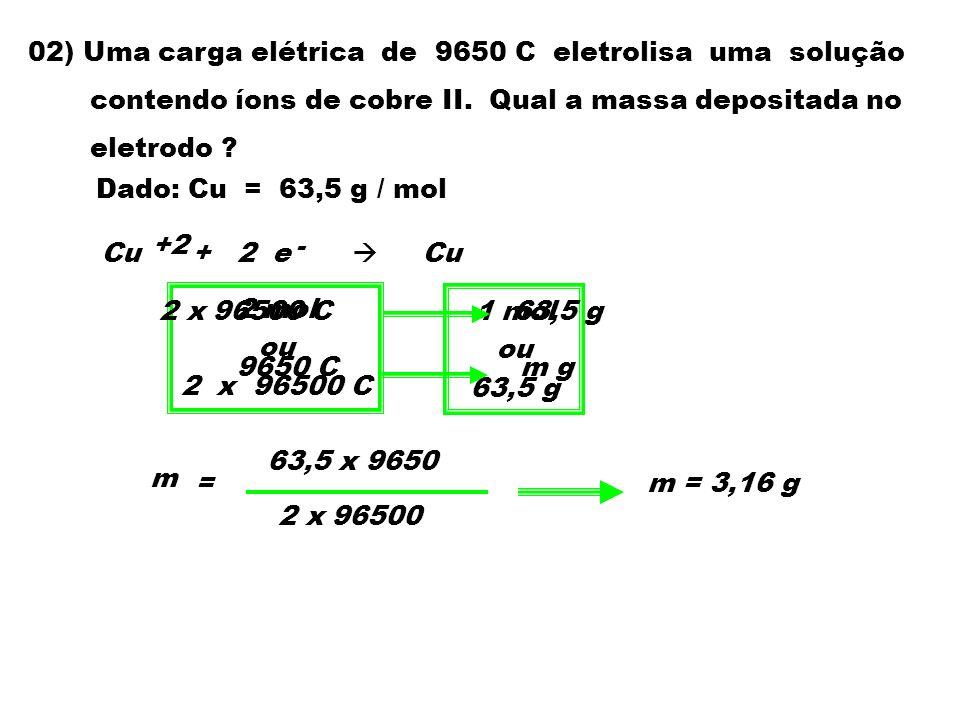 02) Uma carga elétrica de 9650 C eletrolisa uma solução contendo íons de cobre II. Qual a massa depositada no eletrodo ? Dado: Cu = 63,5 g / mol Cu +