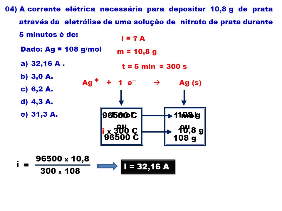 04) A corrente elétrica necessária para depositar 10,8 g de prata através da eletrólise de uma solução de nitrato de prata durante 5 minutos é de: Dad