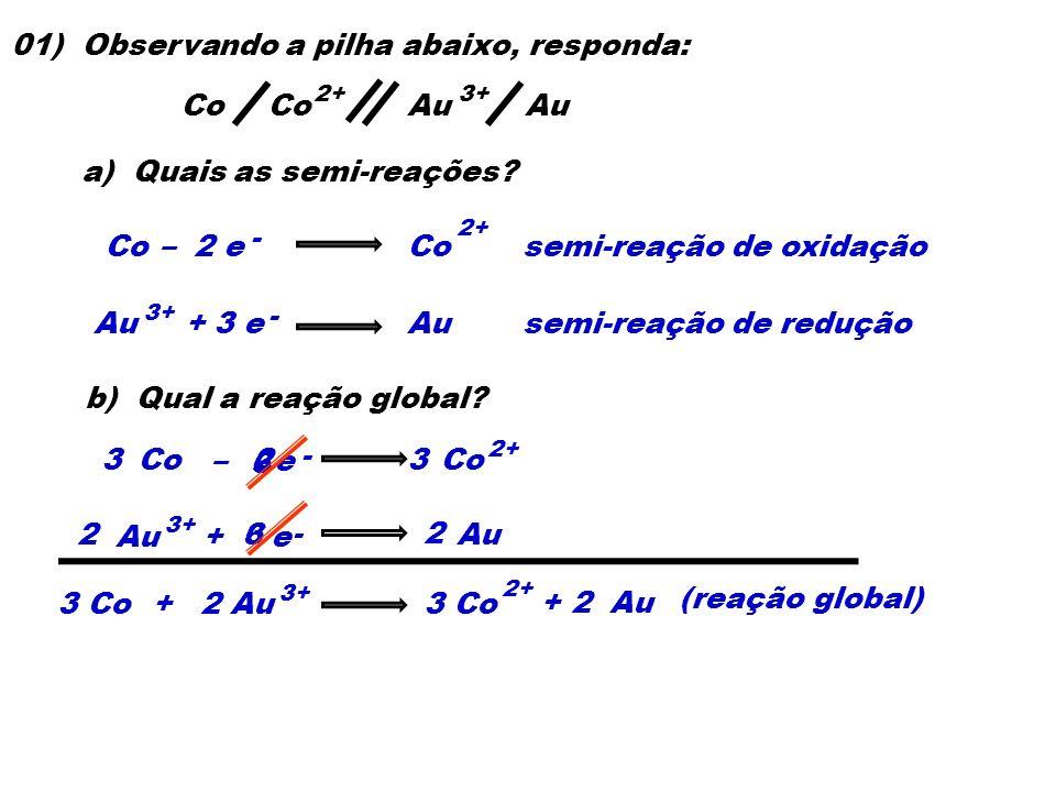 Co 01) Observando a pilha abaixo, responda: a) Quais as semi-reações? Co– 2 eCo 2+ semi-reação de oxidação Au + 3 eAu 3+ semi-reação de redução Co 2+