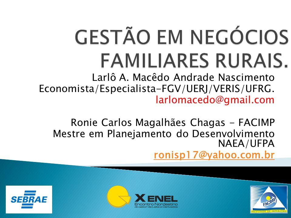 Larlô A. Macêdo Andrade Nascimento Economista/Especialista-FGV/UERJ/VERIS/UFRG. larlomacedo@gmail.com Ronie Carlos Magalhães Chagas - FACIMP Mestre em
