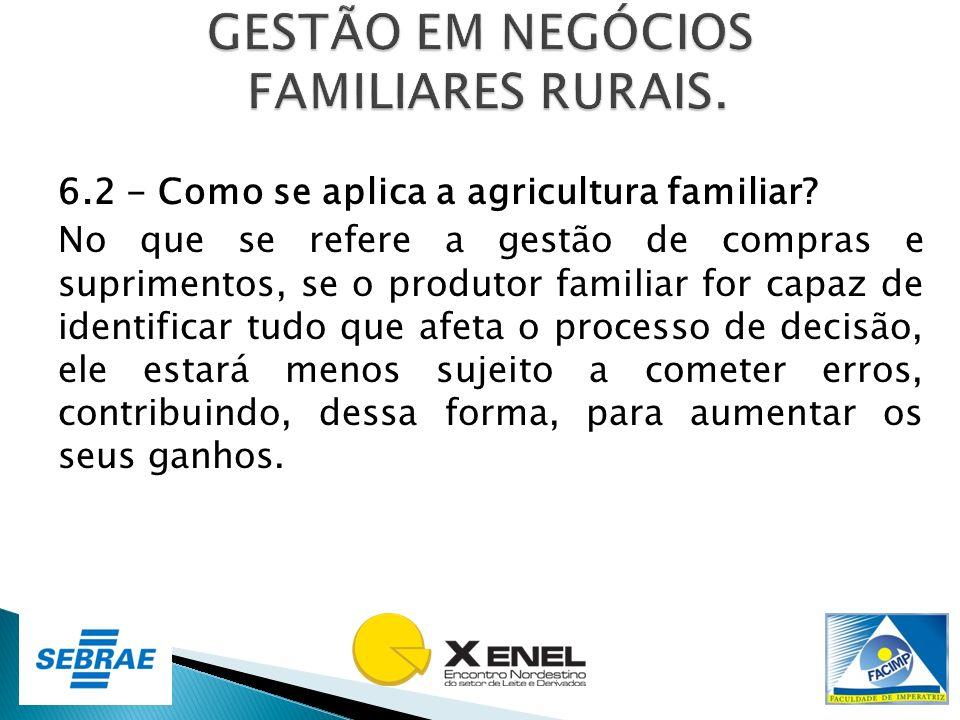 6.2 - Como se aplica a agricultura familiar? No que se refere a gestão de compras e suprimentos, se o produtor familiar for capaz de identificar tudo