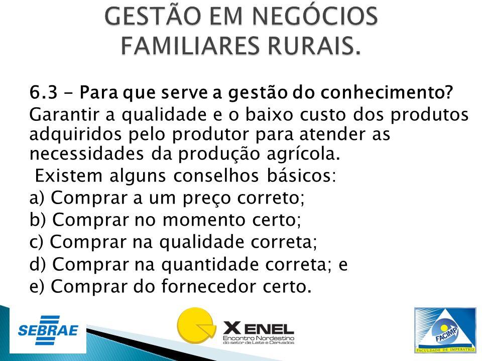 6.3 - Para que serve a gestão do conhecimento? Garantir a qualidade e o baixo custo dos produtos adquiridos pelo produtor para atender as necessidades