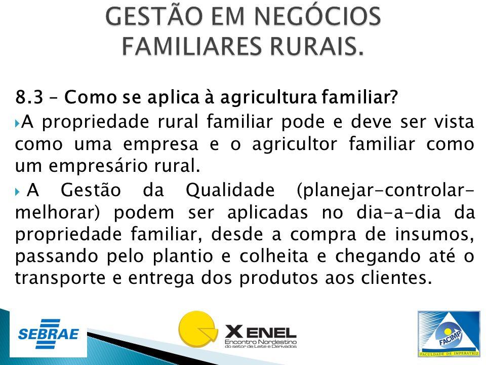 8.3 – Como se aplica à agricultura familiar? A propriedade rural familiar pode e deve ser vista como uma empresa e o agricultor familiar como um empre