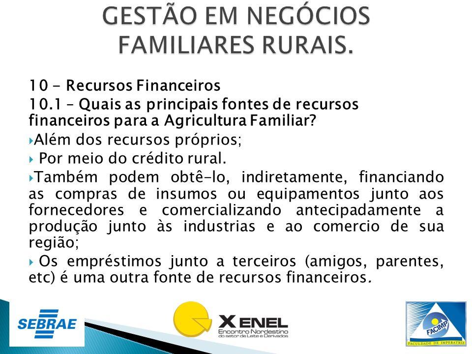 10 - Recursos Financeiros 10.1 – Quais as principais fontes de recursos financeiros para a Agricultura Familiar? Além dos recursos próprios; Por meio