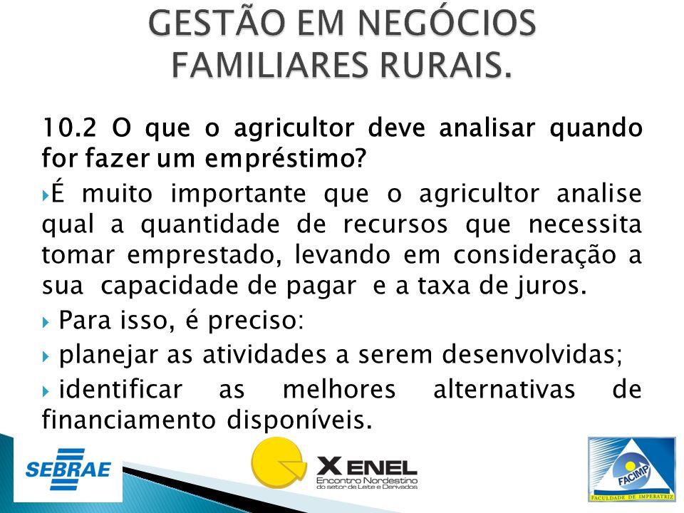 10.2 O que o agricultor deve analisar quando for fazer um empréstimo? É muito importante que o agricultor analise qual a quantidade de recursos que ne