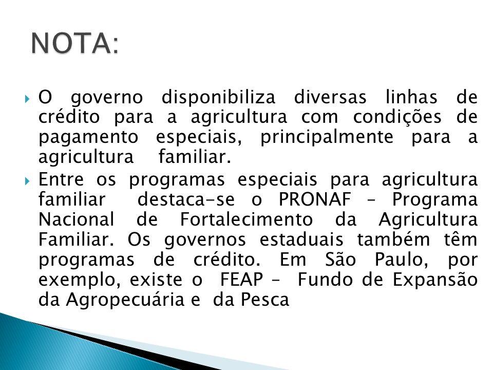 O governo disponibiliza diversas linhas de crédito para a agricultura com condições de pagamento especiais, principalmente para a agricultura familiar