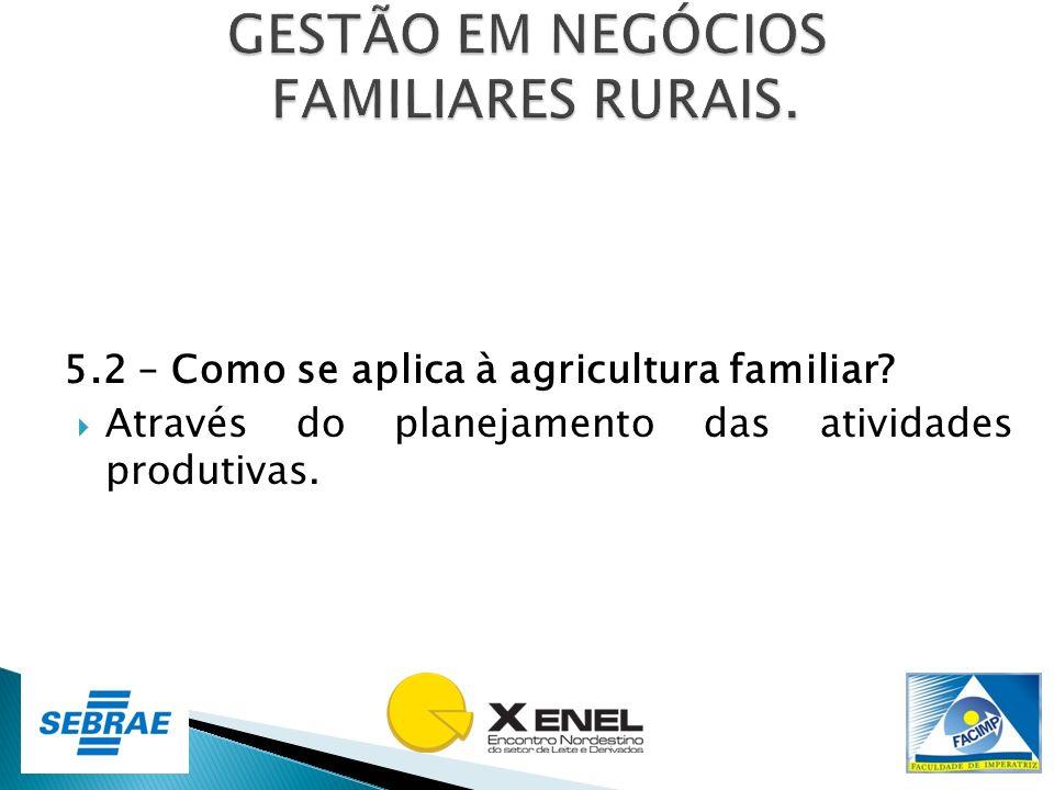 5.2 – Como se aplica à agricultura familiar? Através do planejamento das atividades produtivas.