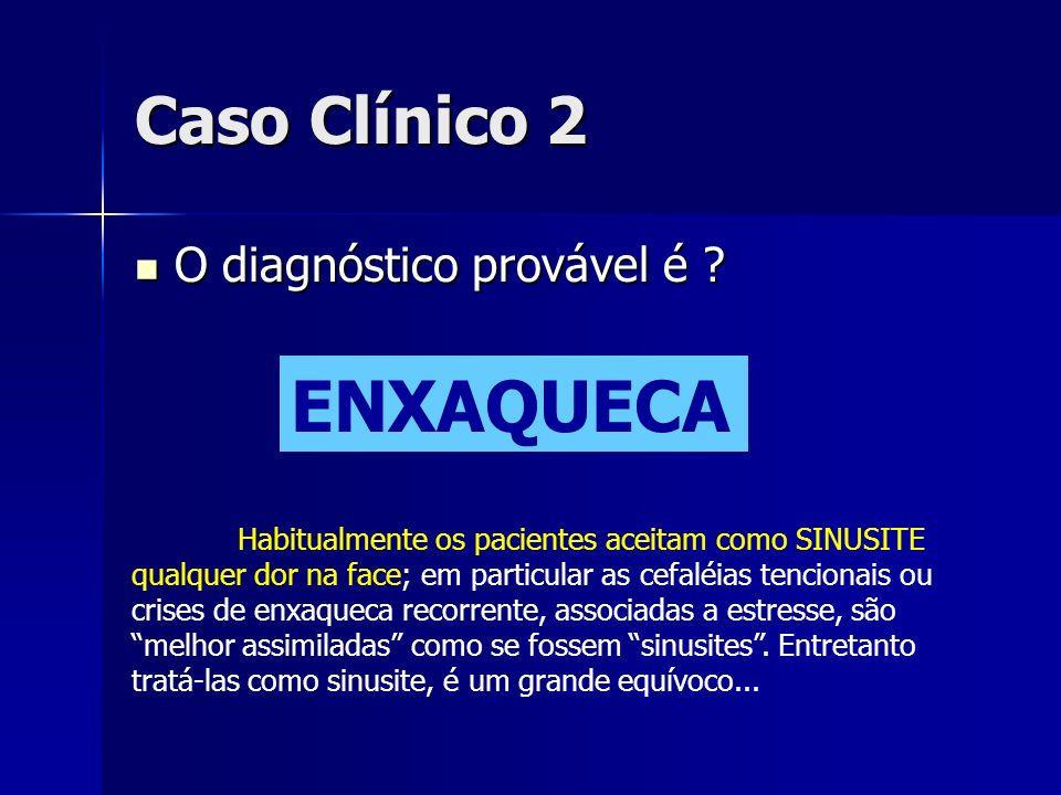 Caso Clínico 2 O diagnóstico provável é ? O diagnóstico provável é ? ENXAQUECA Habitualmente os pacientes aceitam como SINUSITE qualquer dor na face;