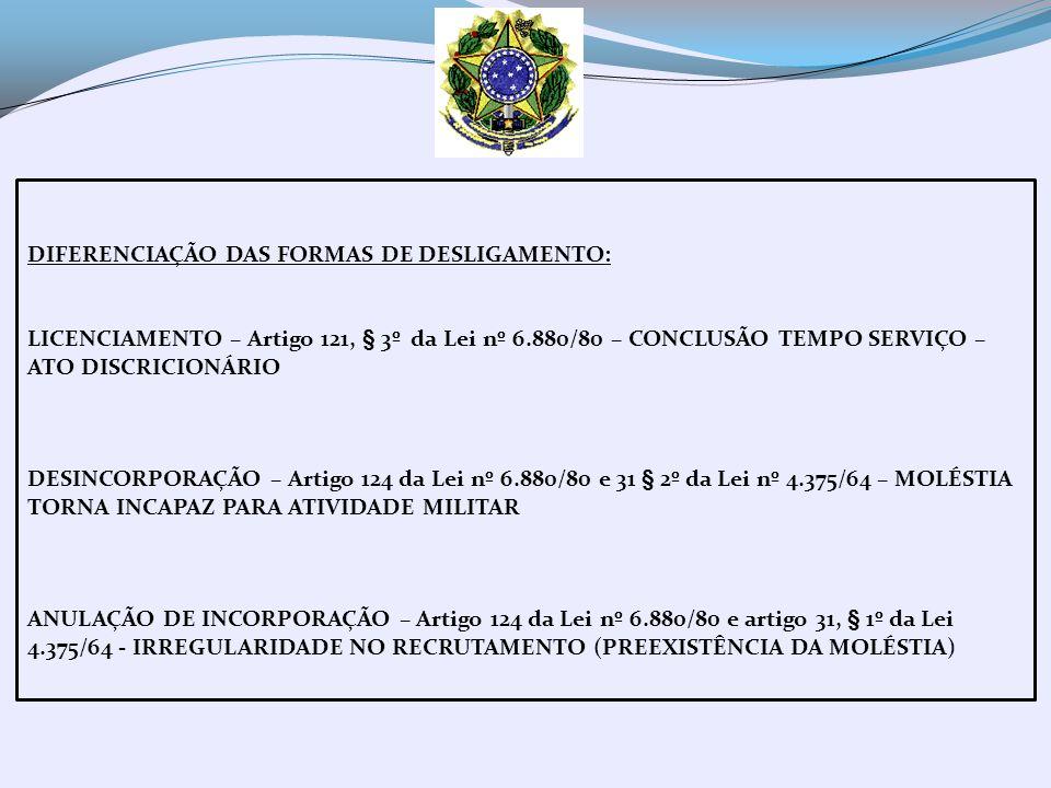 REINTEGRAÇÃO – FIGURA JURÍDICA - CONSTRUÇÃO JURISPRUDENCIAL - ACARRETA NO RETORNO DO MILITAR AOS QUADROS DA FORÇA EM RAZÃO DA NULIDADE DO ATO ADMINISTRATIVO DE EXCLUSÃO – VÍCIO NO DESLIGAMENTO – AINDA QUE POR DECISÃO PRECÁRIA -CONSEQUÊNCIA DIRETA – REMUNERAÇÃO (TRATAMENTO) -MANTIDO EM SERVIÇO OU AFASTADO DO TRABALHO (TRATAMENTO) ENCOSTAMENTO - FINS DE TRATAMENTO QUANDO PASSÍVEL DE RECUPERAÇÃO E NÃO ESTIVER INVÁLIDO (ART.