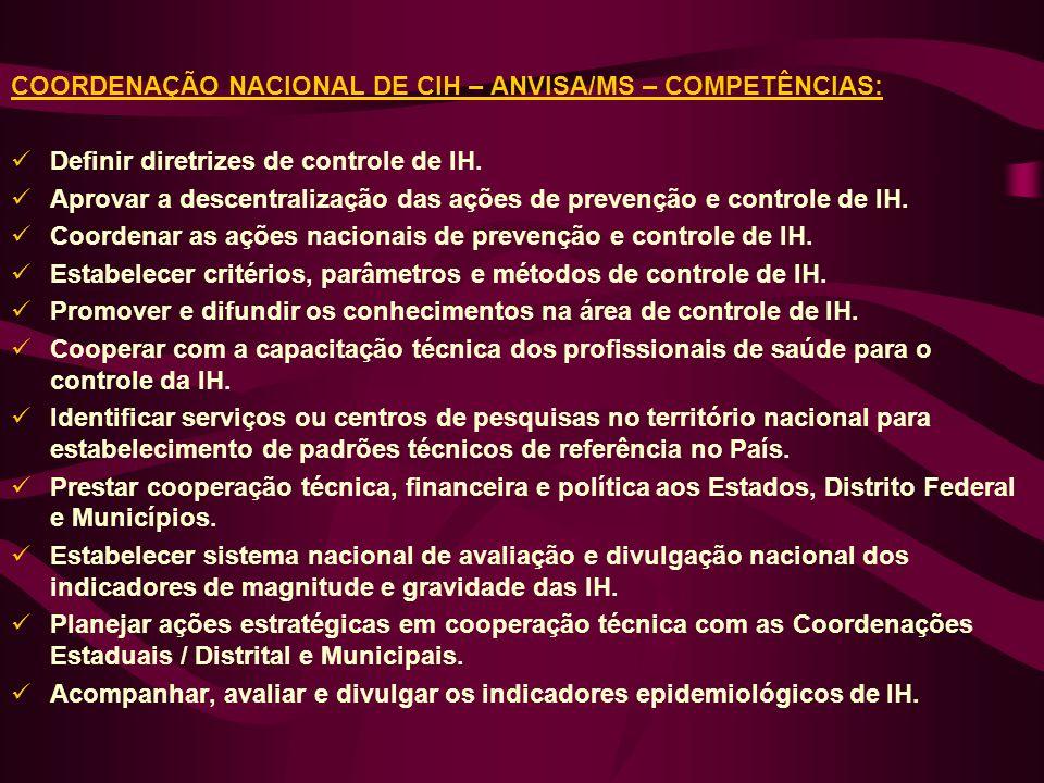 COORDENAÇÃO NACIONAL DE CIH – ANVISA/MS – COMPETÊNCIAS: Definir diretrizes de controle de IH. Aprovar a descentralização das ações de prevenção e cont