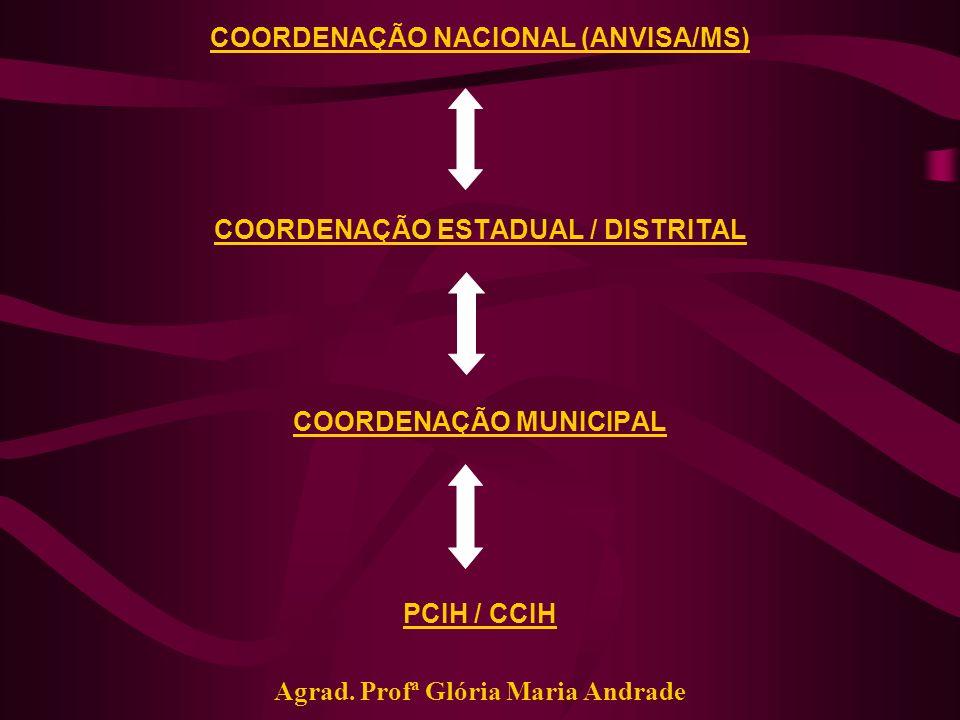 COORDENAÇÃO NACIONAL (ANVISA/MS) COORDENAÇÃO ESTADUAL / DISTRITAL COORDENAÇÃO MUNICIPAL PCIH / CCIH Agrad. Profª Glória Maria Andrade