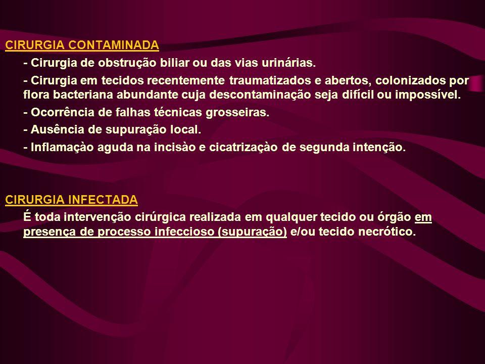 CIRURGIA CONTAMINADA - Cirurgia de obstrução biliar ou das vias urinárias. - Cirurgia em tecidos recentemente traumatizados e abertos, colonizados por