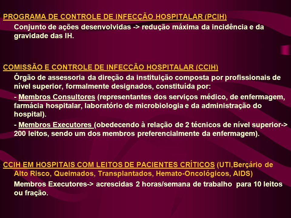 PROGRAMA DE CONTROLE DE INFECÇÃO HOSPITALAR (PCIH) Conjunto de ações desenvolvidas -> redução máxima da incidência e da gravidade das IH. COMISSÃO E C