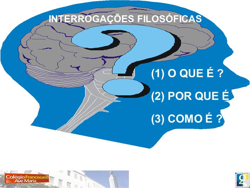 (1) O QUE É ? (2) POR QUE É ? (3) COMO É ? INTERROGAÇÕES FILOSÓFICAS (1) O QUE É ? (2) POR QUE É ? (3) COMO É ?