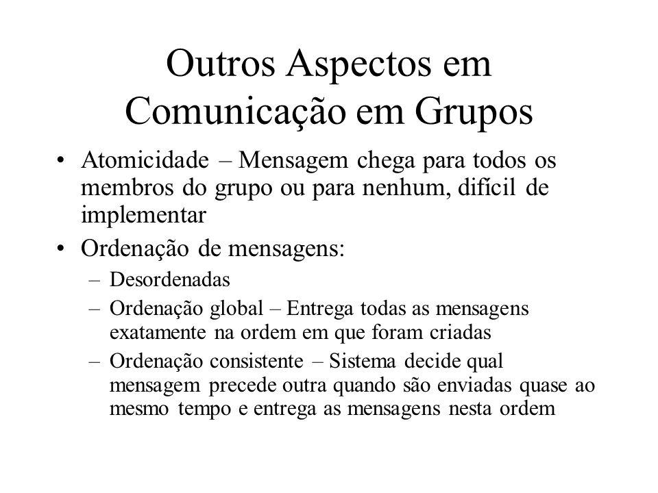 Outros Aspectos em Comunicação em Grupos Atomicidade – Mensagem chega para todos os membros do grupo ou para nenhum, difícil de implementar Ordenação