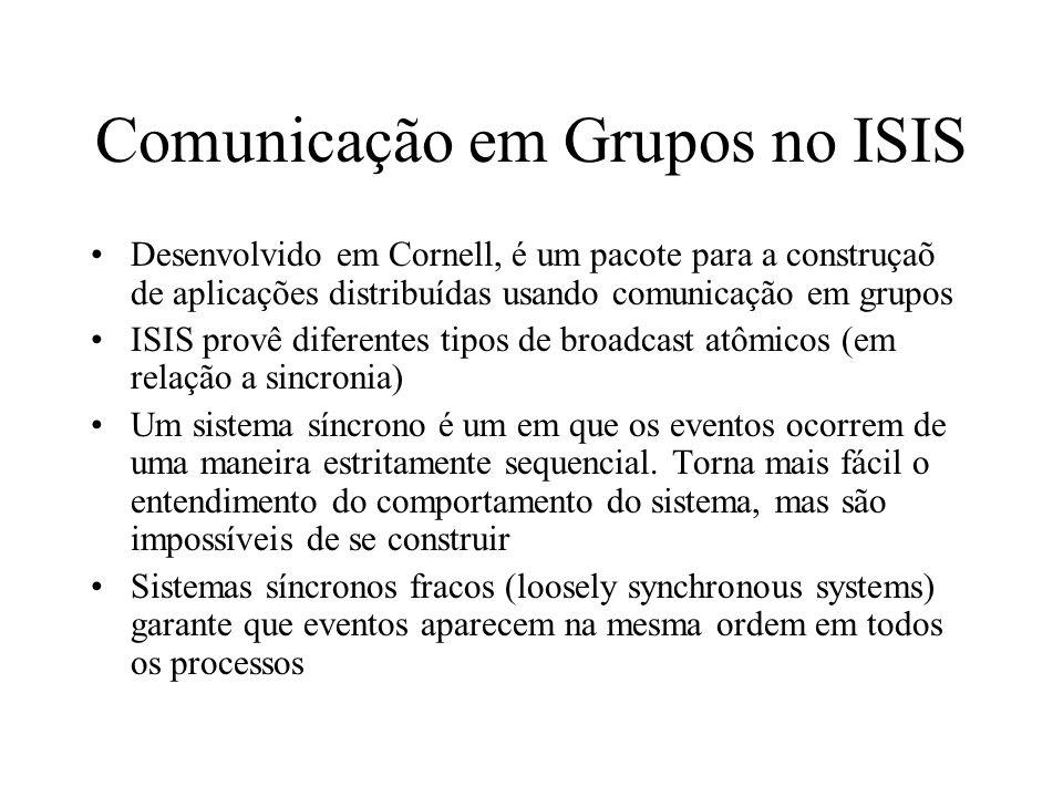 Comunicação em Grupos no ISIS Desenvolvido em Cornell, é um pacote para a construçaõ de aplicações distribuídas usando comunicação em grupos ISIS prov