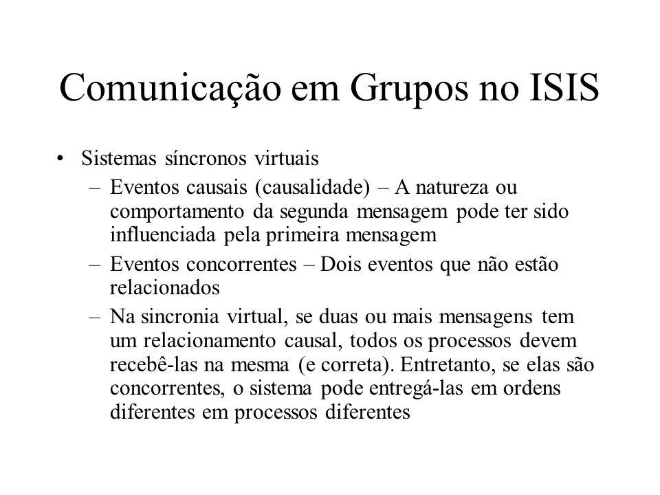 Comunicação em Grupos no ISIS Sistemas síncronos virtuais –Eventos causais (causalidade) – A natureza ou comportamento da segunda mensagem pode ter si