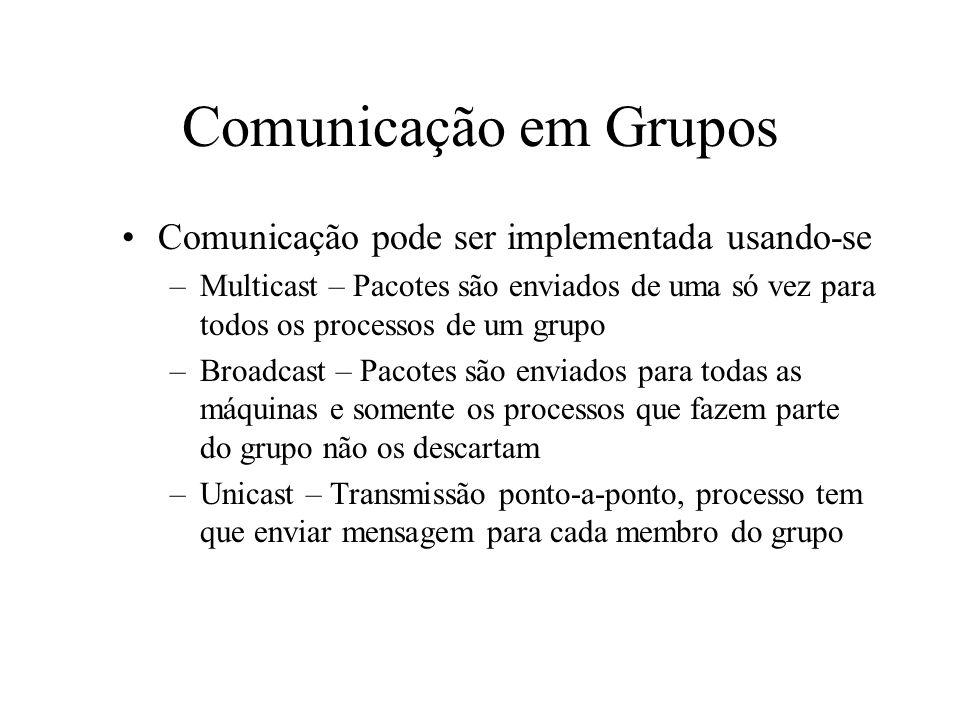 Tipos de Grupos Grupos fechados X grupos abertos –Nos grupos fechados, somente membros do grupo podem mandar mensagens para os outros membros –Nos grupos abertos, qualquer processo pode enviar uma mensagem ao grupo –Grupos fechados são geralmente usados para execução em paralelo, enquanto que os abertos são usado em servidores replicados