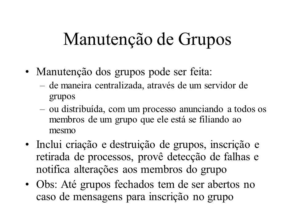 Manutenção de Grupos Manutenção dos grupos pode ser feita: –de maneira centralizada, através de um servidor de grupos –ou distribuída, com um processo