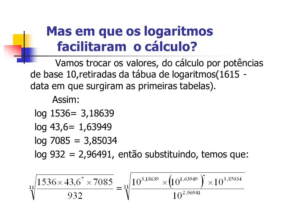 Mas em que os logaritmos facilitaram o cálculo? Vamos trocar os valores, do cálculo por potências de base 10,retiradas da tábua de logaritmos(1615 - d