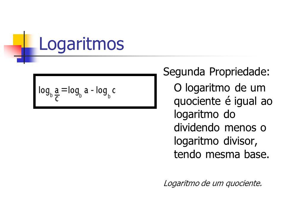Logaritmos Segunda Propriedade: O logaritmo de um quociente é igual ao logaritmo do dividendo menos o logaritmo divisor, tendo mesma base. Logaritmo d
