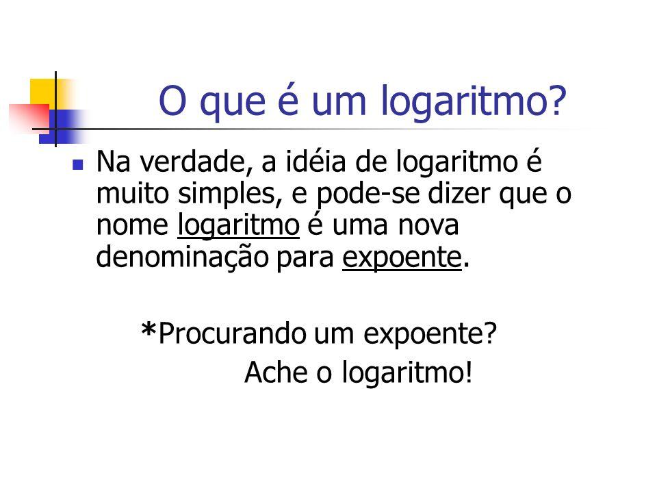 O que é um logaritmo? Na verdade, a idéia de logaritmo é muito simples, e pode-se dizer que o nome logaritmo é uma nova denominação para expoente. *Pr