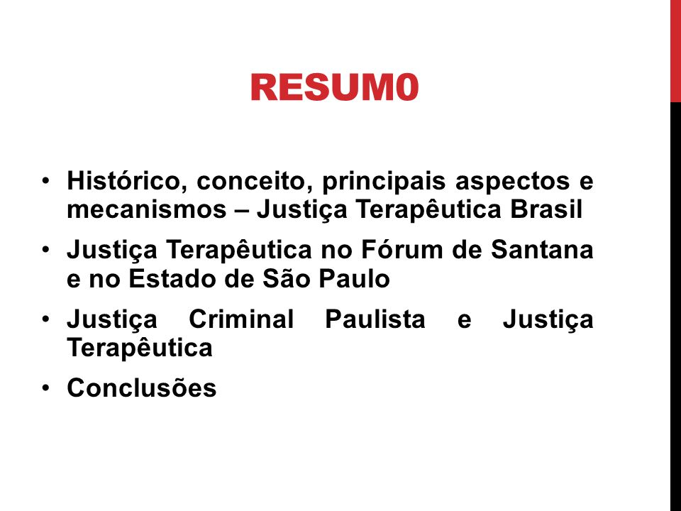 Projeto de comarca terapêutica – s.