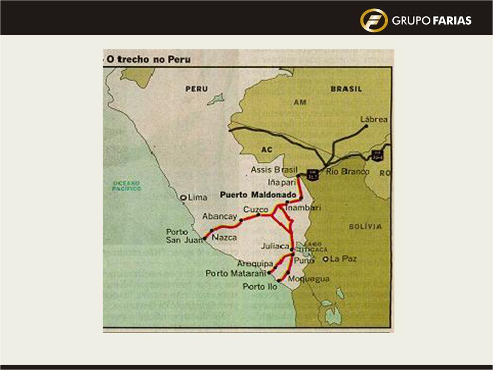 Rodovia Brasil – Lima : iniciou em 08/09/05 Custo total = 800 milhões US$ em 4 trechos 720 milhões de US$ Brasil =420 milhões US$ PROEX =300 milhões U