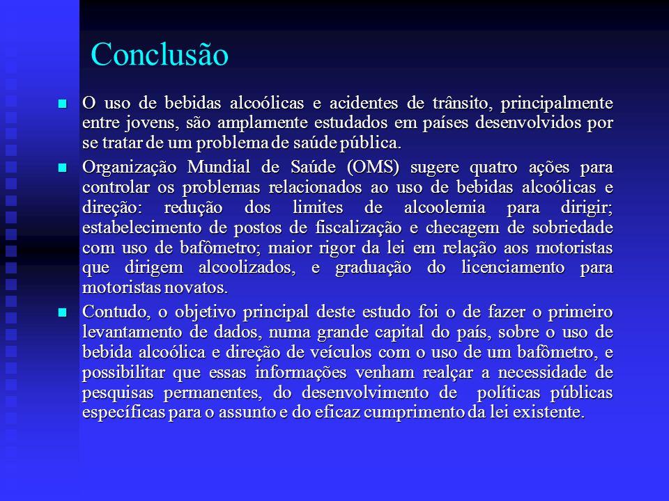 Conclusão O uso de bebidas alcoólicas e acidentes de trânsito, principalmente entre jovens, são amplamente estudados em países desenvolvidos por se tr