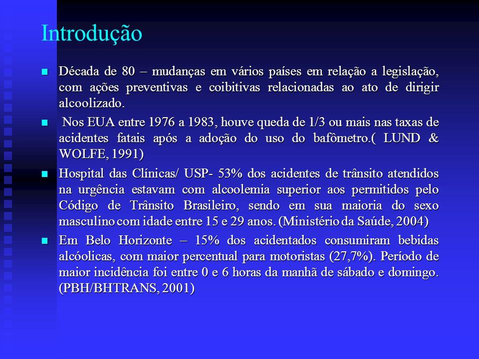 Objetivos Geral : Realizar levantamento de dados referente ao comportamento dos motoristas em relação ao beber e dirigir numa determinada região da cidade de Belo Horizonte.