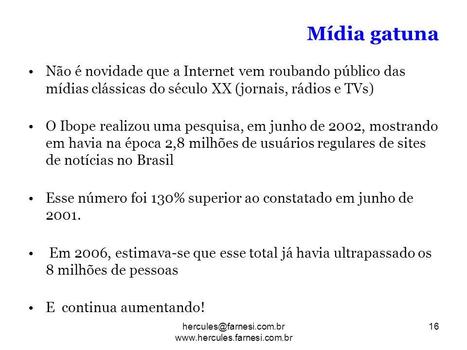 Mídia gatuna Não é novidade que a Internet vem roubando público das mídias clássicas do século XX (jornais, rádios e TVs) O Ibope realizou uma pesquis