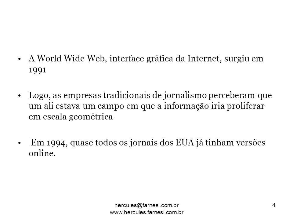A World Wide Web, interface gráfica da Internet, surgiu em 1991 Logo, as empresas tradicionais de jornalismo perceberam que um ali estava um campo em