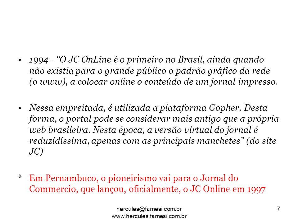 1994 - O JC OnLine é o primeiro no Brasil, ainda quando não existia para o grande público o padrão gráfico da rede (o www), a colocar online o conteúd