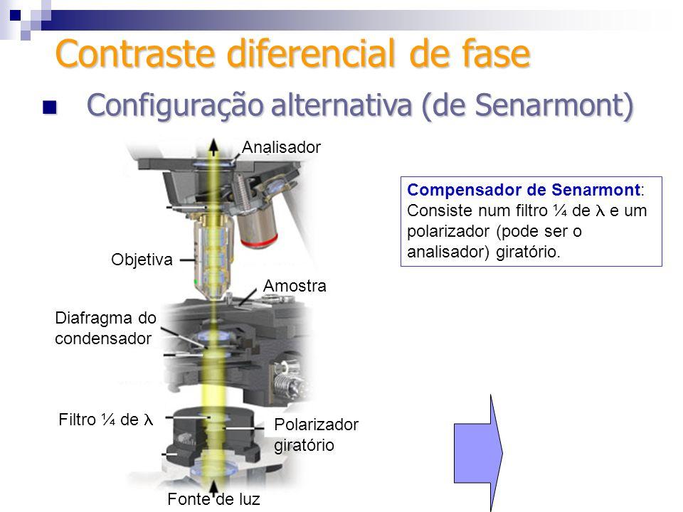 Analisador Fenda para inserir filtro Escala vernier Graduação de 180 ou 360º Trava Configurações de compensador de Senarmont Configurações de compensador de Senarmont (a) Controle Giratório removível Filtro de ¼ de Analisador (b) Contraste diferencial de fase