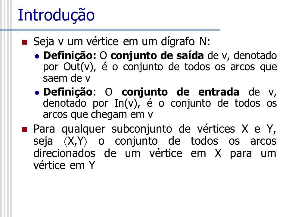 Introdução Seja v um vértice em um dígrafo N: Definição: O conjunto de saída de v, denotado por Out(v), é o conjunto de todos os arcos que saem de v D
