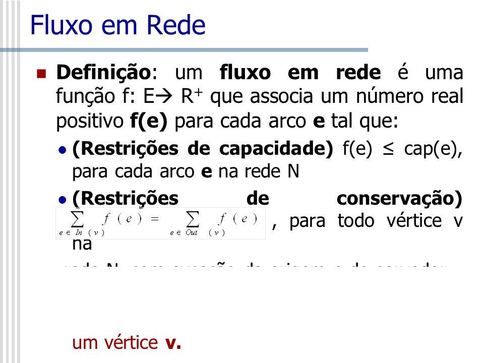 Fluxo em Rede Definição: um fluxo em rede é uma função f: E R + que associa um número real positivo f(e) para cada arco e tal que: (Restrições de capa