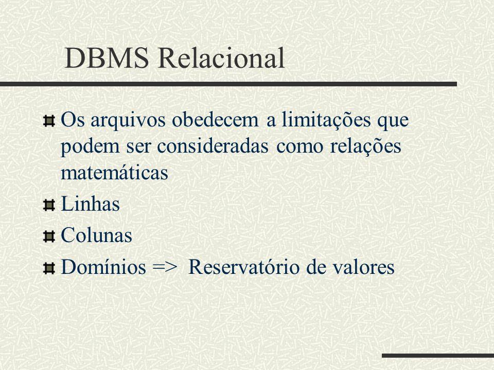 DBMS Relacional Os arquivos obedecem a limitações que podem ser consideradas como relações matemáticas Linhas Colunas Domínios => Reservatório de valo