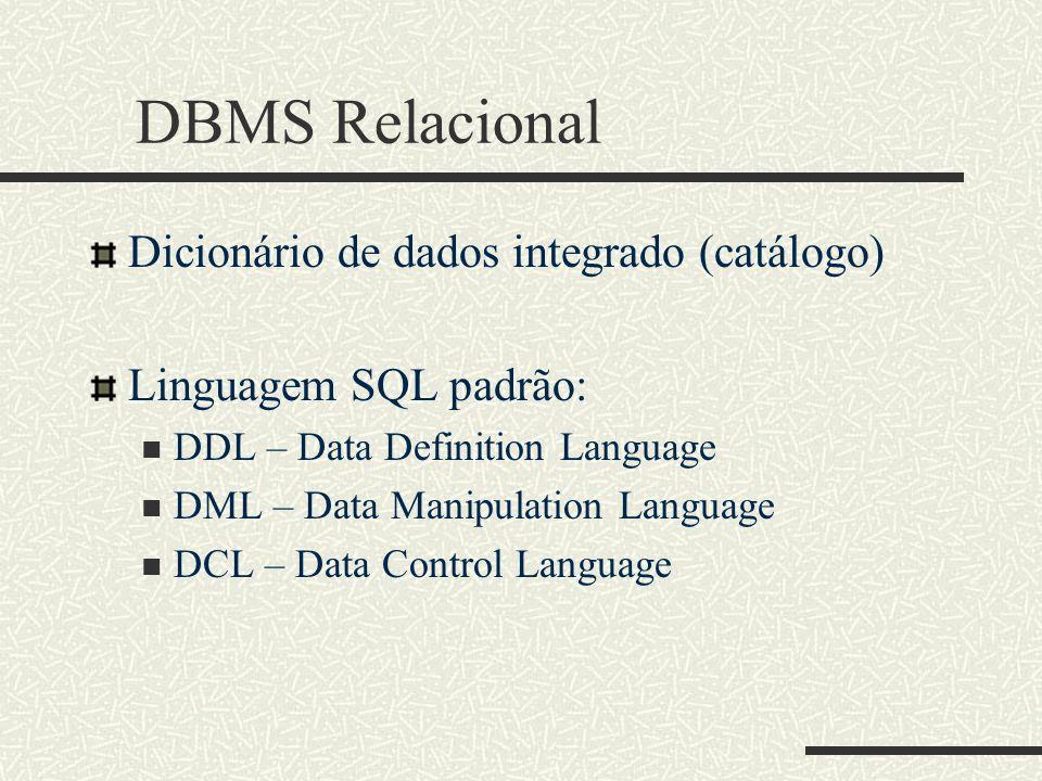 DBMS Relacional Dicionário de dados integrado (catálogo) Linguagem SQL padrão: DDL – Data Definition Language DML – Data Manipulation Language DCL – D