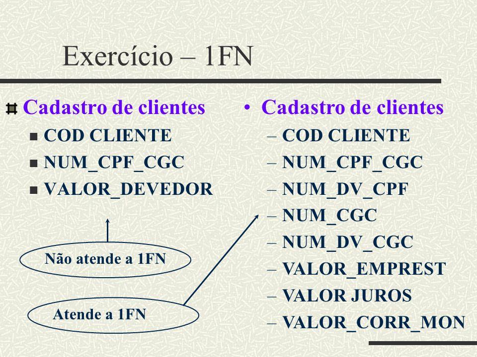 Exercício – 1FN Cadastro de clientes COD CLIENTE NUM_CPF_CGC VALOR_DEVEDOR Cadastro de clientes –COD CLIENTE –NUM_CPF_CGC –NUM_DV_CPF –NUM_CGC –NUM_DV