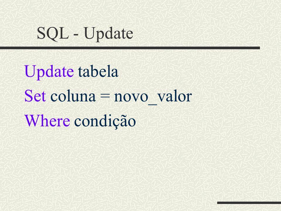 SQL - Update Update tabela Set coluna = novo_valor Where condição