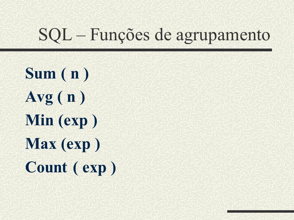SQL – Funções de agrupamento Sum ( n ) Avg ( n ) Min (exp ) Max (exp ) Count ( exp )
