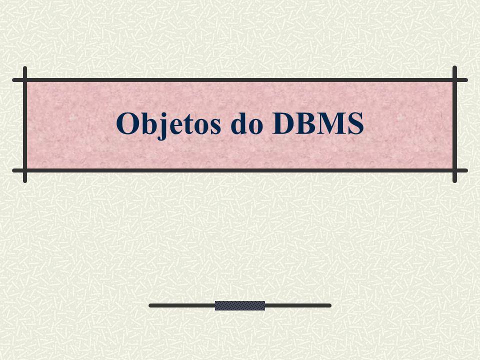 Objetos de um DBMS Usuários / Autorizações / Papéis Tabelas / Colunas Nulos e defaults Índices Constraints de Integridade Stored Procedures Triggers