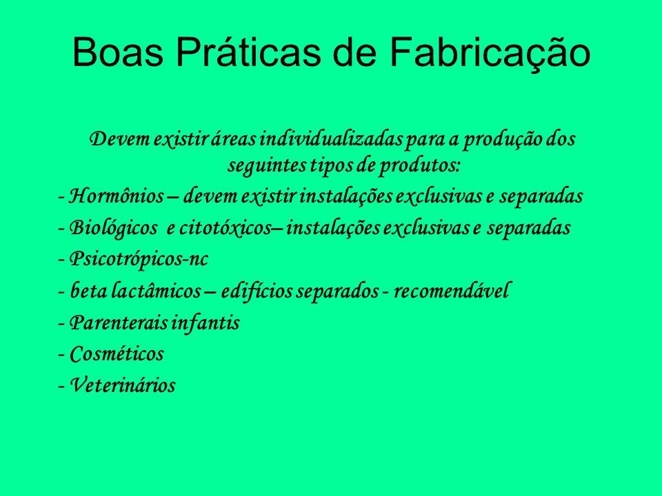 Boas Práticas de Fabricação Devem existir áreas individualizadas para a produção dos seguintes tipos de produtos: - Hormônios – devem existir instalaç