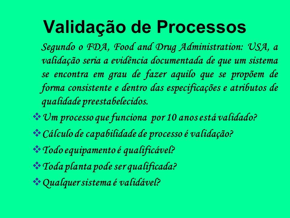 Validação de Processos Segundo o FDA, Food and Drug Administration: USA, a validação seria a evidência documentada de que um sistema se encontra em gr