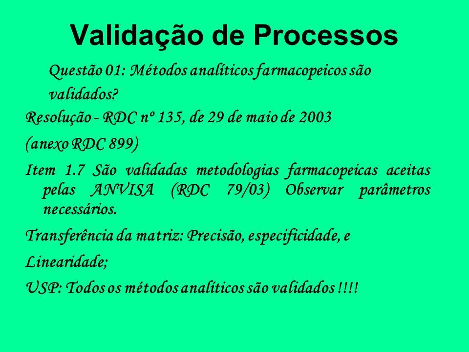 Validação de Processos Questão 01: Métodos analíticos farmacopeicos são validados? Resolução - RDC nº 135, de 29 de maio de 2003 (anexo RDC 899) Item