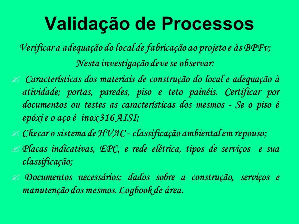 Validação de Processos Verificar a adequação do local de fabricação ao projeto e às BPFv; Nesta investigação deve se observar: Características dos mat
