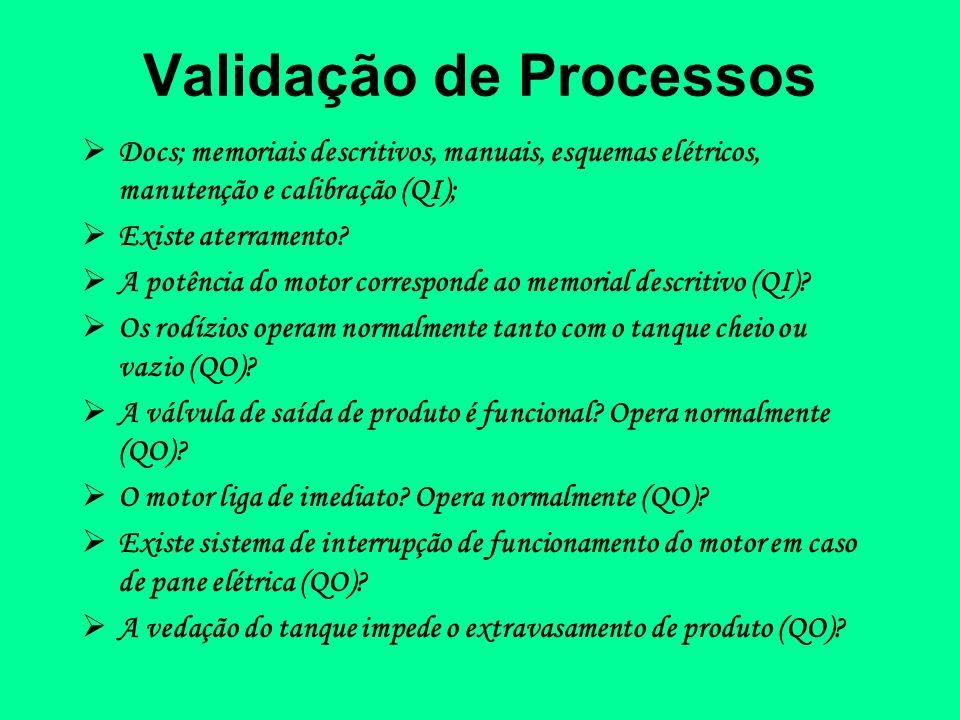 Validação de Processos Docs; memoriais descritivos, manuais, esquemas elétricos, manutenção e calibração (QI); Existe aterramento? A potência do motor