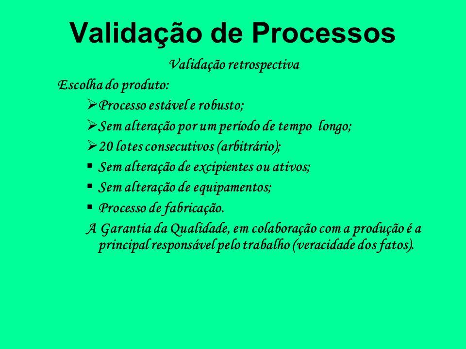 Validação de Processos Validação retrospectiva Escolha do produto: Processo estável e robusto; Sem alteração por um período de tempo longo; 20 lotes c